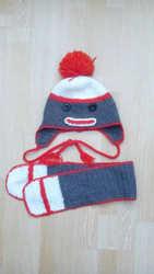 Шапка-обезьянка с шарфиком